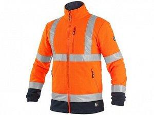 Bunda CXS PRESTON, výstražná, fleece, oranžovo - modrá