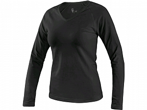 Tričko CXS MARY, dámské, výstřih do V, dlouhý rukáv, černá