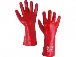 Povrstvené rukavice SELA, červené, vel. 10