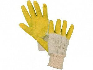 Povrstvené rukavice DETA, bílo-žluté, vel. 10
