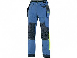Kalhoty CXS NAOS pánské, modro-modré, HV žluté doplňky