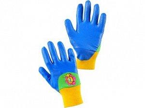 Rukavice DRAGO, dětské, máčené v nitrilu, modré, vel. 05